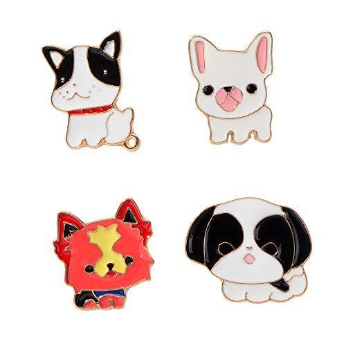 Feelontop® 4 pezzi/set Accessori moda Metallo dorato con spilla da cane smaltata bianca nera rossa per donna con custodia per gioielli