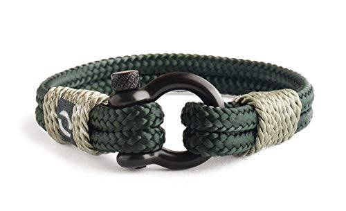 Mover Bracelets Braccialetto Solo per Uomini con Vite di Ancoraggio in Corda Super Duraturo Nera in Acciaio Inossidabile realizzato Accessorio Alla Moda Fatto a Mano Braccialetto Impermeabile