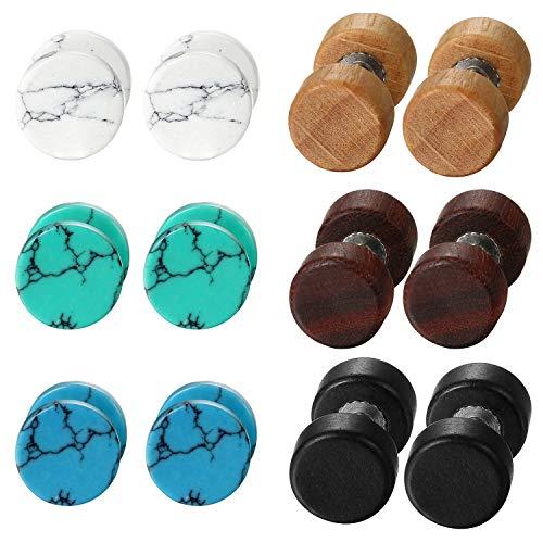 Aroncent 6paia di tappi per le orecchie finte orecchini per donne uomini in acciaio INOX legno Stone tunnel orecchino e Acciaio inossidabile, colore: 8mm, cod. AR040013