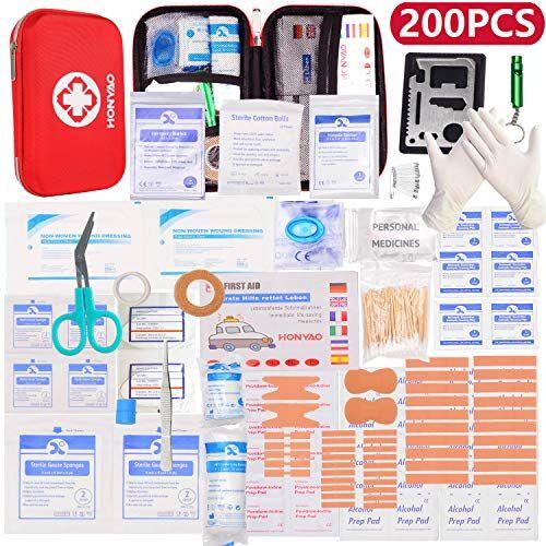 HONYAO Kit di Primo Soccorso, Scatola di Emergenza con Medicazione Completa per Primo Intervento, Kit di Pronto Soccorso per Casa Auto Barca Moto Roulotte Trekking e Campeggio