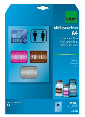 SIGEL IF130 Film InkJet trasparente, autoadesivo, per alimentazione automativa, A4, 140 µm, 10 fg.