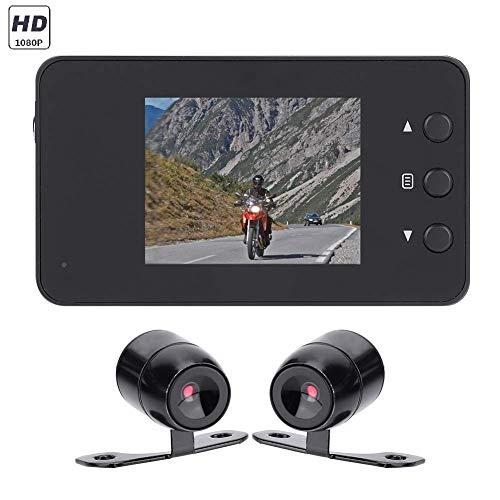 Tosuny Videoregistratore a Doppia Lente 1080P HD Dash Cam per Moto Auto, Videocamera Portatile Impermeabile Action Camera, Obiettivo Ultra grandangolare da 140 Gradi, Schermo LCD da 3 Pollici