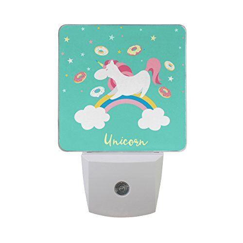 ISAOA Unicorn set di caratteri agnello notturna automatica dal tramonto all' alba Senor illuminazione a LED, spina luce notturna in camera da letto per bambino, bambini, cameretta, camerette, scale, corridoio