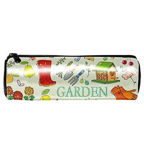 EZIOLY - Set da giardinaggio con uccellini rossi, farfalle e fiori, in pelle, astuccio portamonete, trousse per trucchi, per scuola, lavoro, ufficio