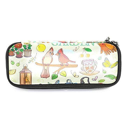 TIZORAX - Set da giardinaggio con uccellini rossi, farfalle, fiori, matite, astuccio, astuccio per trucchi, portapenne, per scuola e ufficio