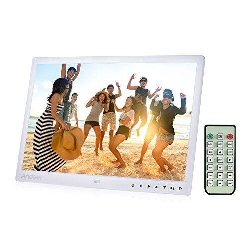 """Andoer 15"""" Cornice Foto Digitale HD LED 1080P per Musica e Film MP3 / MP4 / Calendario / Sveglia Regalo di Natale con 7 Tasto di tocco Telecomando a Infrarossi"""