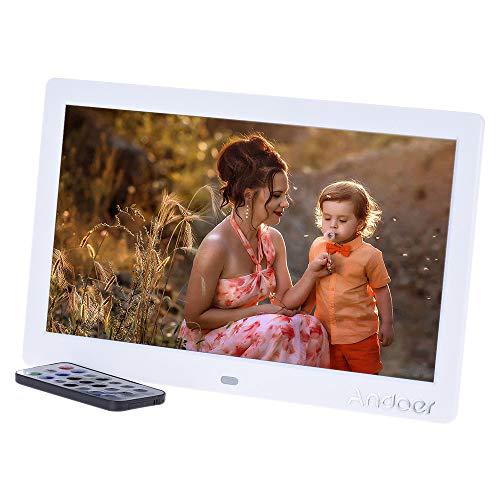 """Andoer 10"""" Cornice Foto Digitale LED per Musica e Film Supporto MP3 / MP4 / Sveglia Regalo di Natale con Telecomando"""