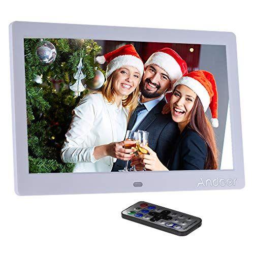 """Andoer Cornice Digitale 10"""" LED per Musica e Film Cornice Foto Digitale Supporto MP3 / MP4 / Sveglia Regalo di Natale con Telecomando"""