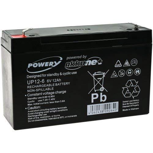 POWERY Batteria al Gel di piombo Powery per: -veicoli giocattolo , auto,Quads, moto 6V 12Ah (sostituisce anche 10Ah)