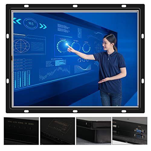 Slubee Display LCD da 12,1 pollici per l'industria, tecnologia informatica computer con custodia VGA/HDMI, schermo, display touch, resistenza (12.1 inches-Black, VGA+HDMI(USB Touch))