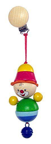 Hess 12779 - Bambino Giocattolo in Legno Catena Figurine Clip On, Clown Felix