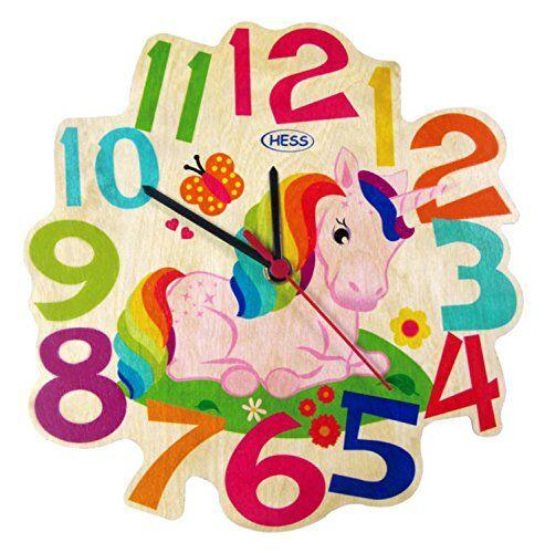 Hess legno Giocattoli per bambini 30005 Orologio Unicorno legno, diametro 21 cm