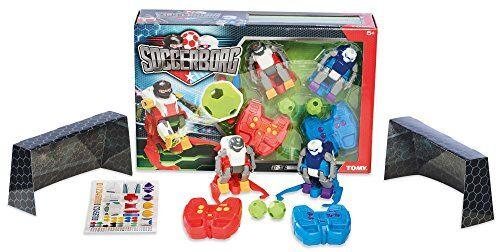 TOMY Soccerborg Robot giocattolo per bambini - Robot giocattolo radiocomandato a partire dai 6 anni - Due robot da calcio con portiere, palline e adesivi per personalizzare