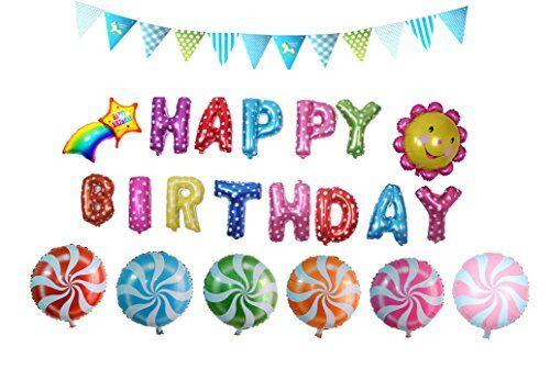 Somine Foglio di Alluminio Film Palloncini a Forma di Happy Birthday, Caramella del Lollipop, Girasole, Arcobaleno per Le Forniture Decorazione del Partito