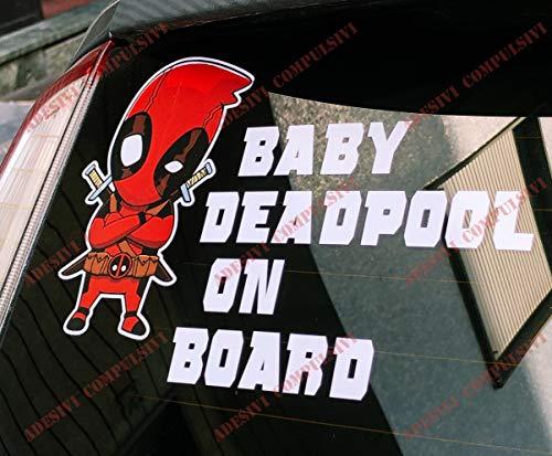 Adesivi Compulsivi Adesivo BABY DEADPOOL ON BOARD per auto e moto