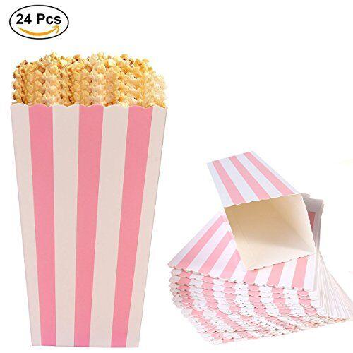Ouinne Scatole di Popcorn, Ouinne 24PCS Scatole Popcorn Sorpresa Modello di Banda Decorativi per il Partito per i Favori del Partito di Film (Rosa)