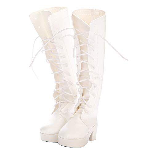 Zantec Abbigliamento per Barbie, Eleganti Scarpe da Principessa in Pelle e Stivali in Pizzo per Accessori per Bambole da 60 cm Q-293 Scarpe Lunghe Bianche