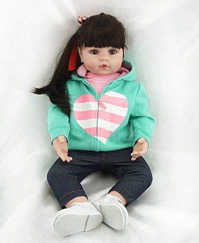 iCradle 18 pollici / 45cm or 22 pollici/ 55cm Soft Silicone Vinile Reborn Baby Girl Doll Panno Corpo Vita reale Come Guardare Bambole Appena Nate Giocattolo Bambino Regalo di Compleanno di Natale (22)