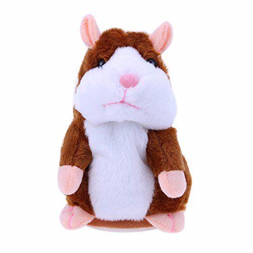 MIMINUO Giocattoli per bambini, Adorable Interesting Speak Talking Record Hamster Mouse Plush Kids Toys (AH1253-Brown)