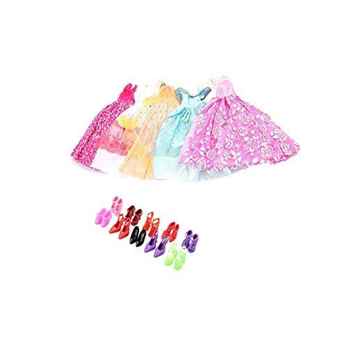 NiceButy/Trifycore 5pcs Mano Principessa Abito del Partito Abiti Abbigliamento 10 Scarpe per Barbie Doll