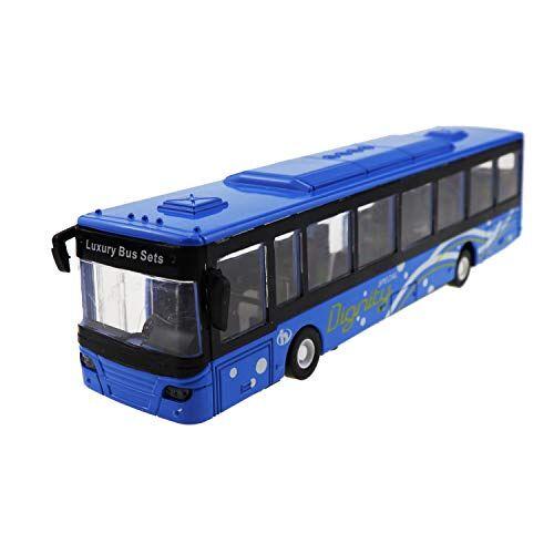 Unionup Giocattolo per Bambini Scala 1:50 Modello di Autobus Urbano Con Music Light Metal Diecasts Vehicle Collezione Ragazzi Car Giocattoli Educativi (Blu)