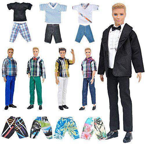 E-TING 5 Set Abbigliamento Casual Abbigliamento / Outfit con 5 Paia di Scarpe per Bambola del Ragazzo Random Style (Abbigliamento Casual + Abito Nero + Costumi da Bagno)(la Bambola Non Include)