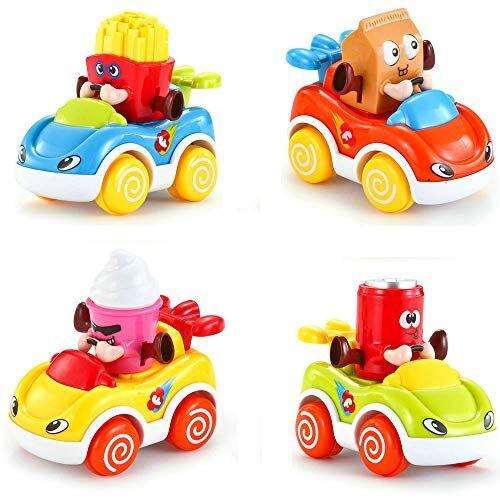 LUKAT Giocattoli per Bambini,Set di 4 Auto Giocattolo,Veicoli a Motore a Frizione Cartoni Animati Giochi per Bambini a Spinta, Giocattoli educativi per Bambini e Bambine di 1 a Anni