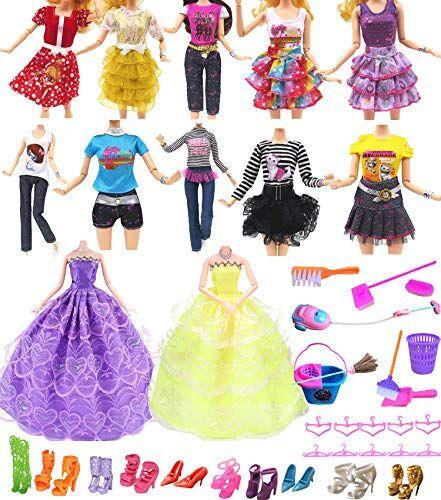 """Hey ~ Yo Bambola Vestiti per Barbie, 11"""" Accessori Bambola 41 Pezzi-Incluso 2 Abito da Sposa +10 Abbigliamento Casuale Vestiti +10 Appendiabiti +10 Scarpe+9 Strumenti di Pulizia"""