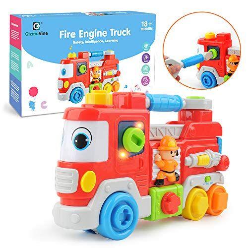 GizmoVine Giocattoli Bambina 1 Anno Camion dei Pompieri con Luce e Musica Giocattoli Educativi per 6 Mesi 1 2 3 Anni Ragazzi Ragazze Bambini Piccoli