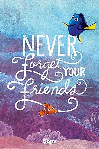 empireposter Findet Dorie - Finding Dory - Never Forget Your Friends - Disney Zeichentrick Animation Film Movie Kino Poster Druck 61x91,5