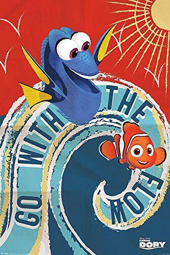 empireposter Findet Dorie - Finding Dory - Go with The Flow - Disney Zeichentrick Animation Film Movie Kino Poster Druck 61x91,5