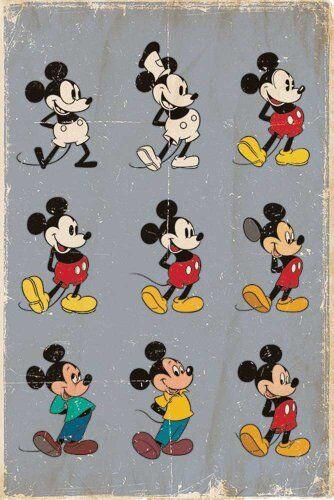 empireposter Disney - Mickey Mouse Evolution Film TV Kinder Poster Plakat Druck - Grösse 61x91,5 cm
