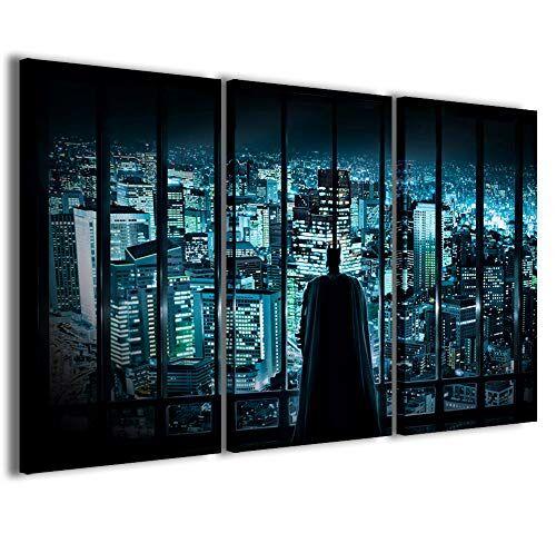 Stampe su Tela Film, Batman Quadri Moderni Arredamento Casa in 3 Pannelli già intelaiati, Pronto per Essere Appeso, 120x90cm