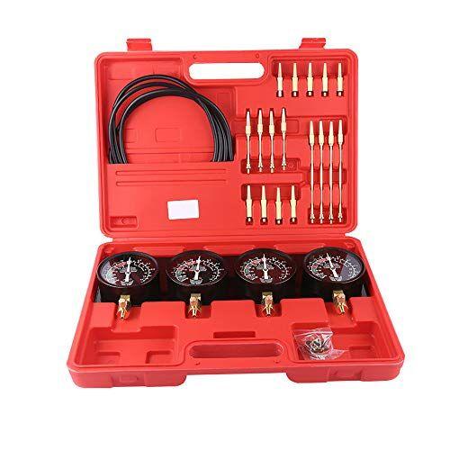 KKmoon Sincronizzatore Carburatore Portatile Professionale per Vuoto Set di Strumenti 4 Manometri per Auto Moto Universale