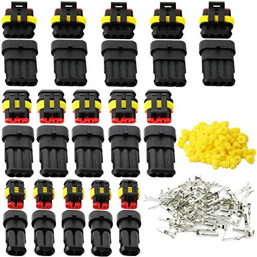 Fortspang, connettori elettrici per auto, moto e scooter, impermeabili, 15 kit di connettori a crimpare 2 pin spina 3 pin spina 4 pin