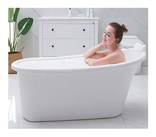 LTY Vasca da bagno mobile, vasca da bagno per adulti botte da bagno in plastica ispessita vasca da bagno per uso domestico grande vasca da bagno per adulti vasca da bagno per corpo completo (1.2M, white)