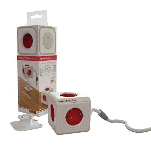 Allocacoc PowerCube 1307/DEEXPC (Extended 3 m), Bianco/Rosso