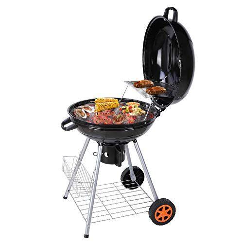 FEMOR Barbecue a Carbone Grill, Bollitore Barbecue Grill, Carrello per Barbecue con due griglie, Raccoglitore di Fuliggine e Termometro, Ventilazione regolabile, per Festa, Campeggi (58 x 58 x 87 cm)