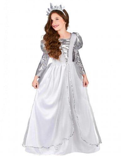 lucida costume principessa argentata bambina m 7-9 anni (120-130 cm)