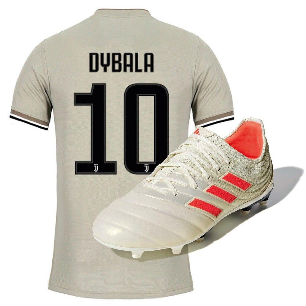 Adidas Maglia Juve Away 18/19 jr Dybala + Scarpe Calcio Ragazzo Copa 19.1 FG Initiator Pack, Taglia: Unica, Per Bambino/a, Grigio