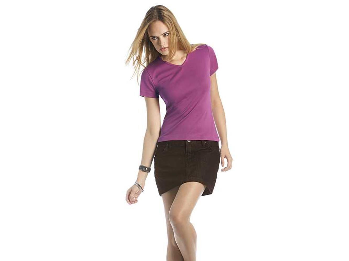 bec collection t-shirt donna elasticizzata scollo a v watch b&c collection