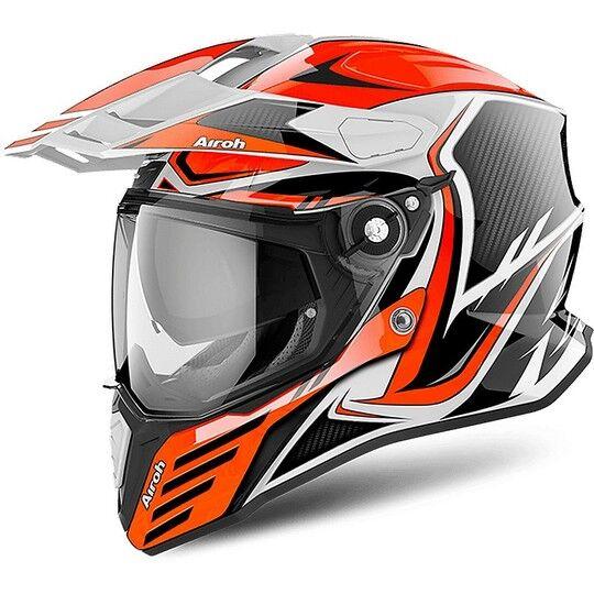 airoh casco integrale on-off moto touring airoh commander carbon arancio lucido