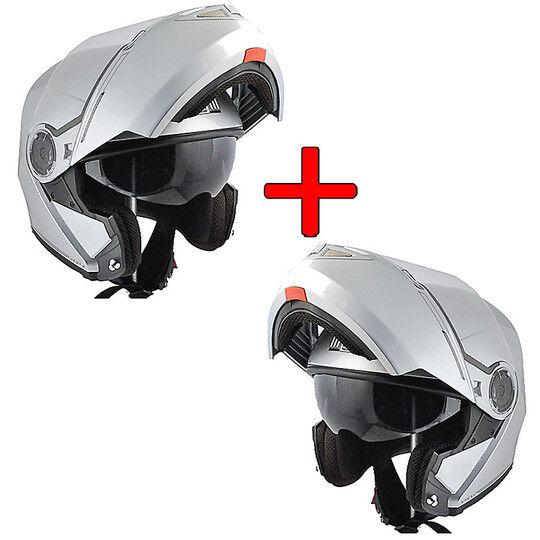 cgm kit risparmio - coppia caschi modulare cgm dubai bianco lucido doppia visiera