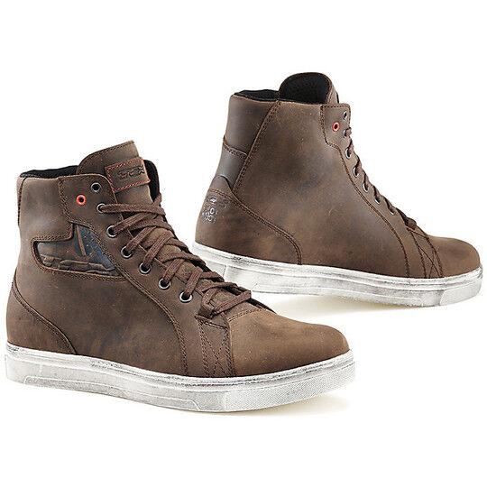 tcx scarpe moto lifestyle tcx street ace waterproof marrone dakar