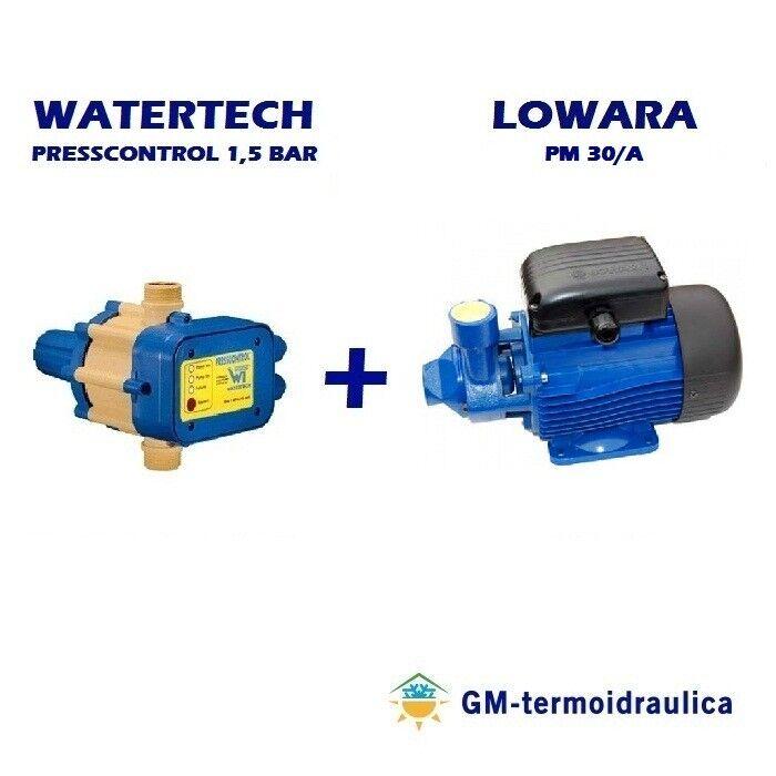 kit autoclave elettropompa periferica lowara pm 30 0,7 hp 0,5 kw + press control watertech 1,5 bar