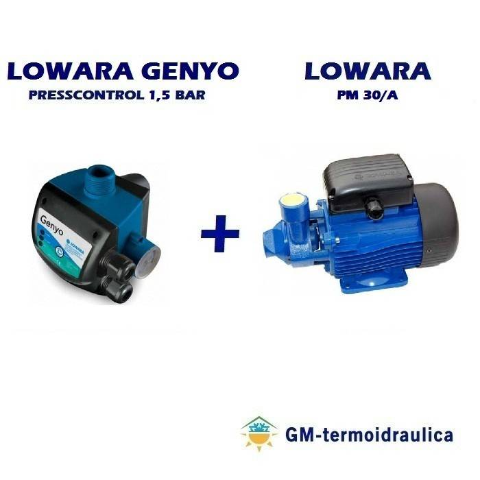 kit autoclave elettropompa periferica lowara pm 30 0,7 hp 0,5 kw + press control lowara genyo 8a/f15 1,5 bar