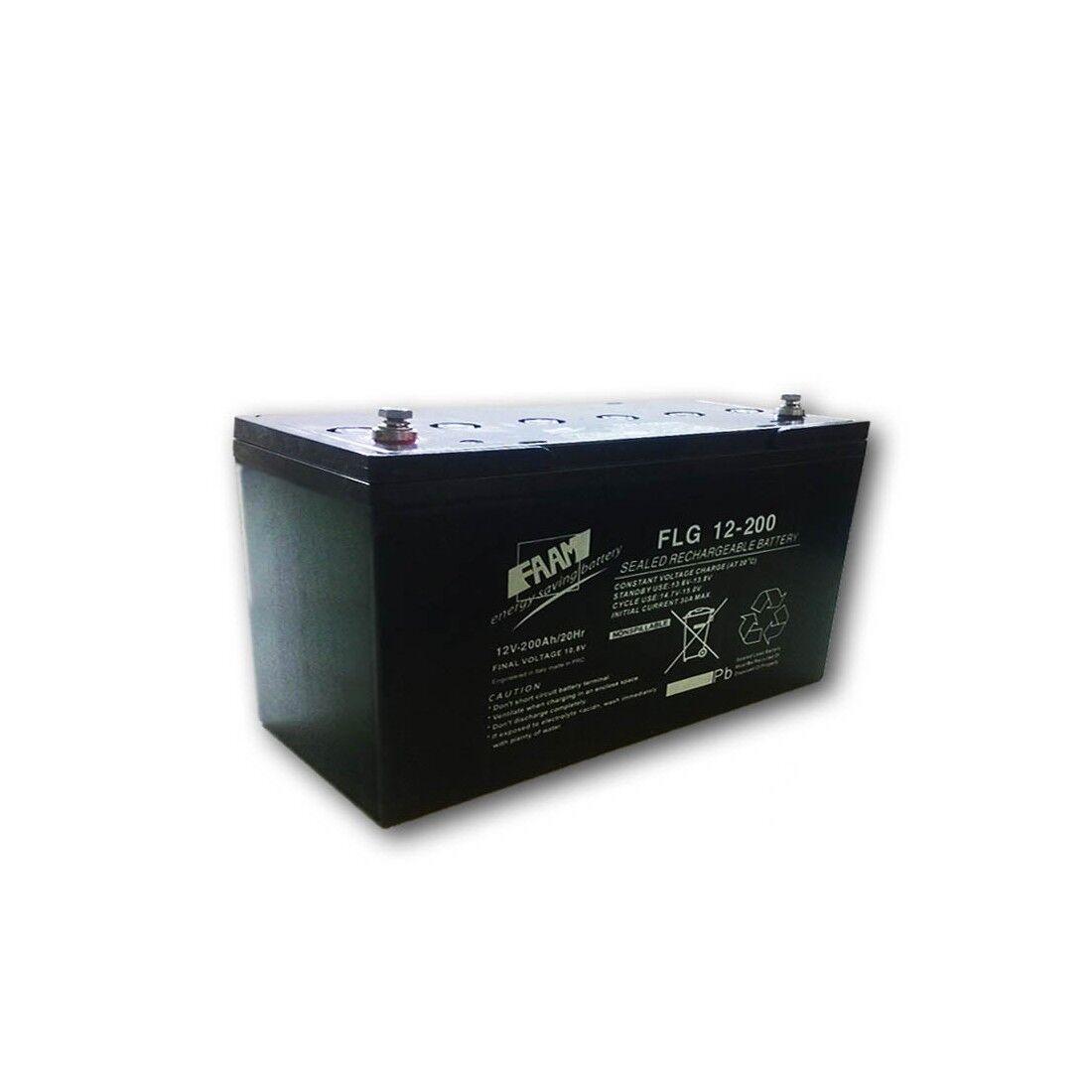 Faam Batteria Piombo GEL 200Ah 12V ermetica scarica lenta   1200 cicli   FAAM