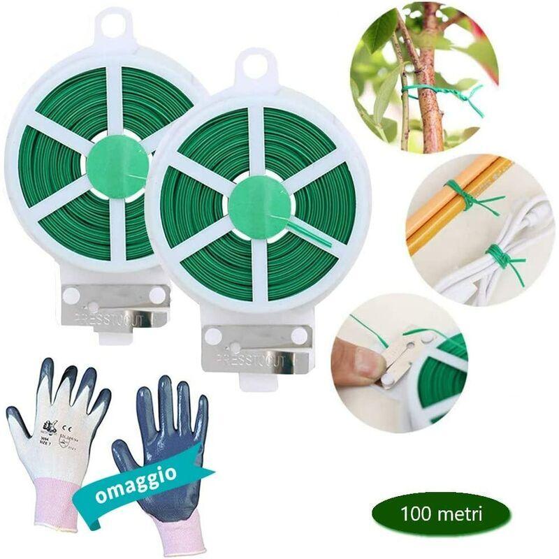 OPENGARDEN 2X Rotolo Filo Metallico Plastificato Verde per Giardino Legature Piante, Viti, Bonsai, Multiuso con Taglia Filo  2X 50mt  Filo di Ferro per Fai da