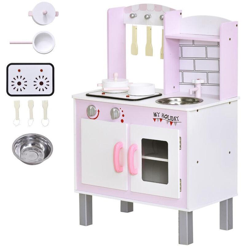 Cucina giocattolo per bambini 3+ anni 5 accessori suoni realistici armadietto