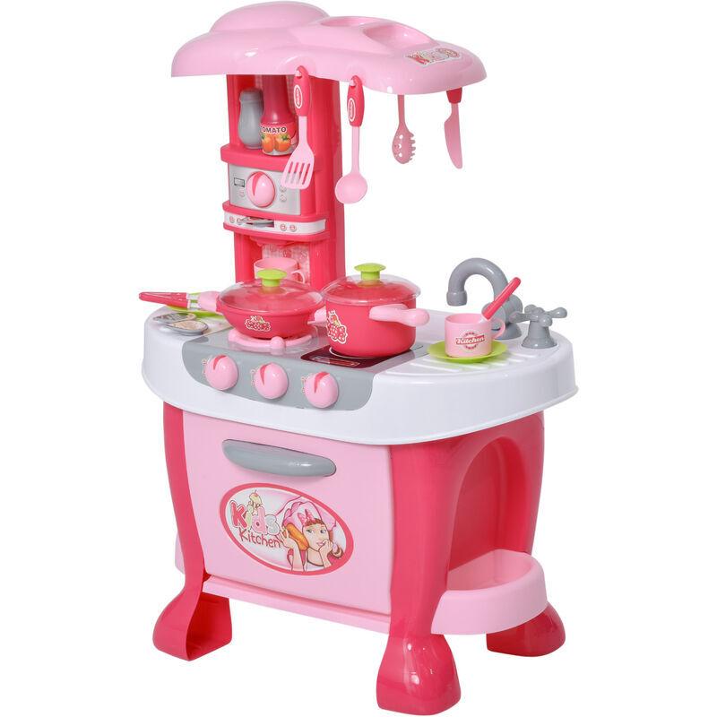HOMCOM Giocattolo per bambini 3-6 anni Set da Cucina con accessori inclusi, Rosa Bianco, in PP - Homcom